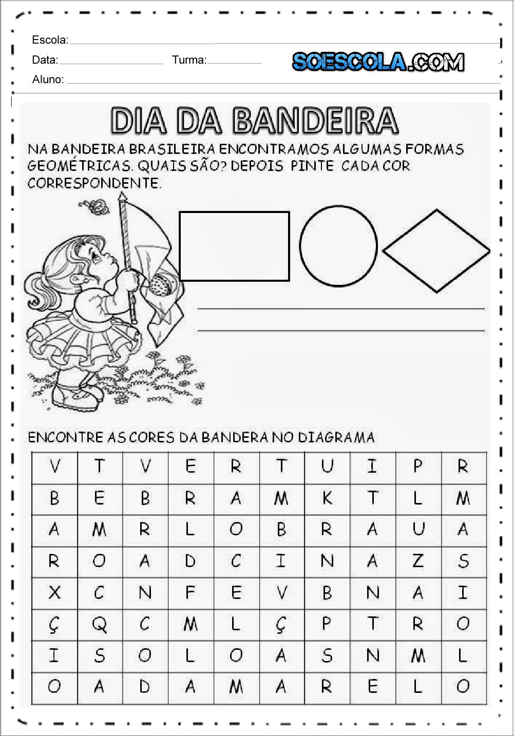 4 Atividades Dia da Bandeira - Para Imprimir - Series Iniciais.