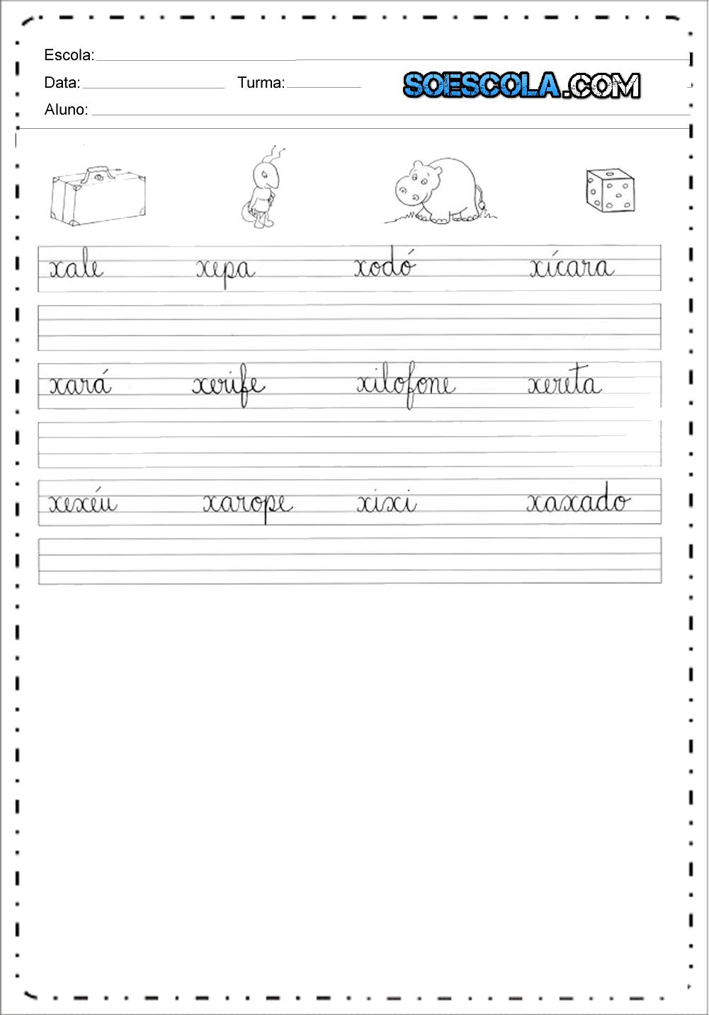 6 Atividades com letra cursiva - Para Imprimir - Series Iniciais.