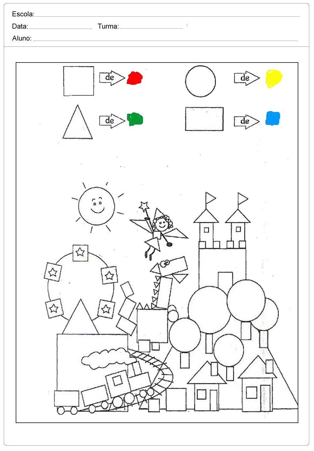 Atividades com Formas Geométricas - Para Imprimir - Series Iniciais.
