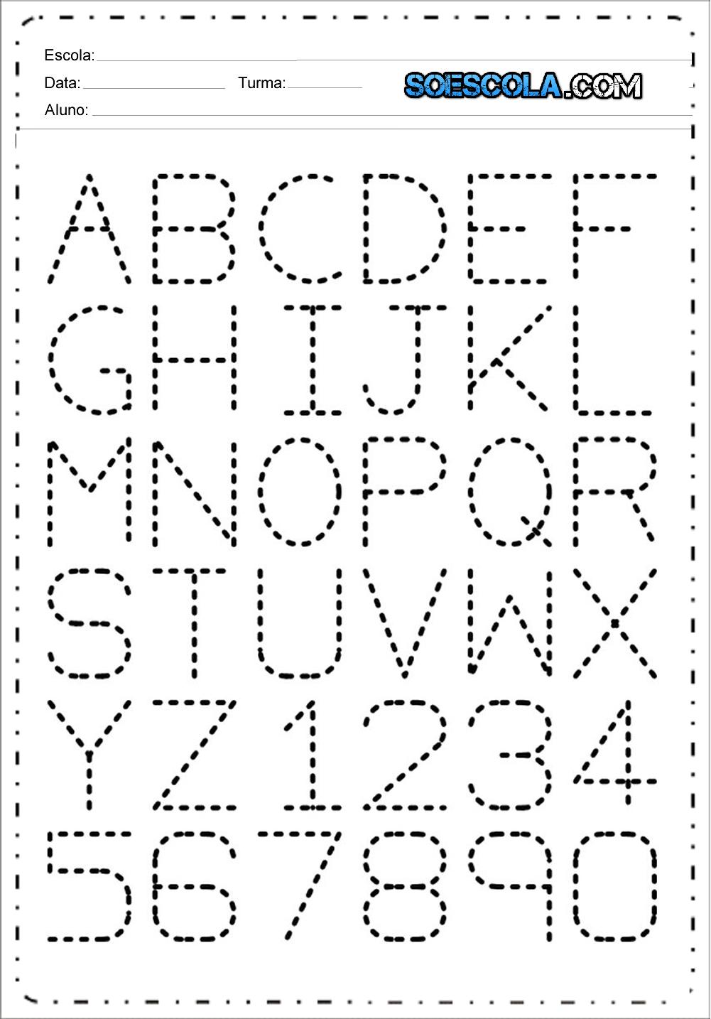 Alfabeto Pontilhado - Atividades Educativas para imprimir.