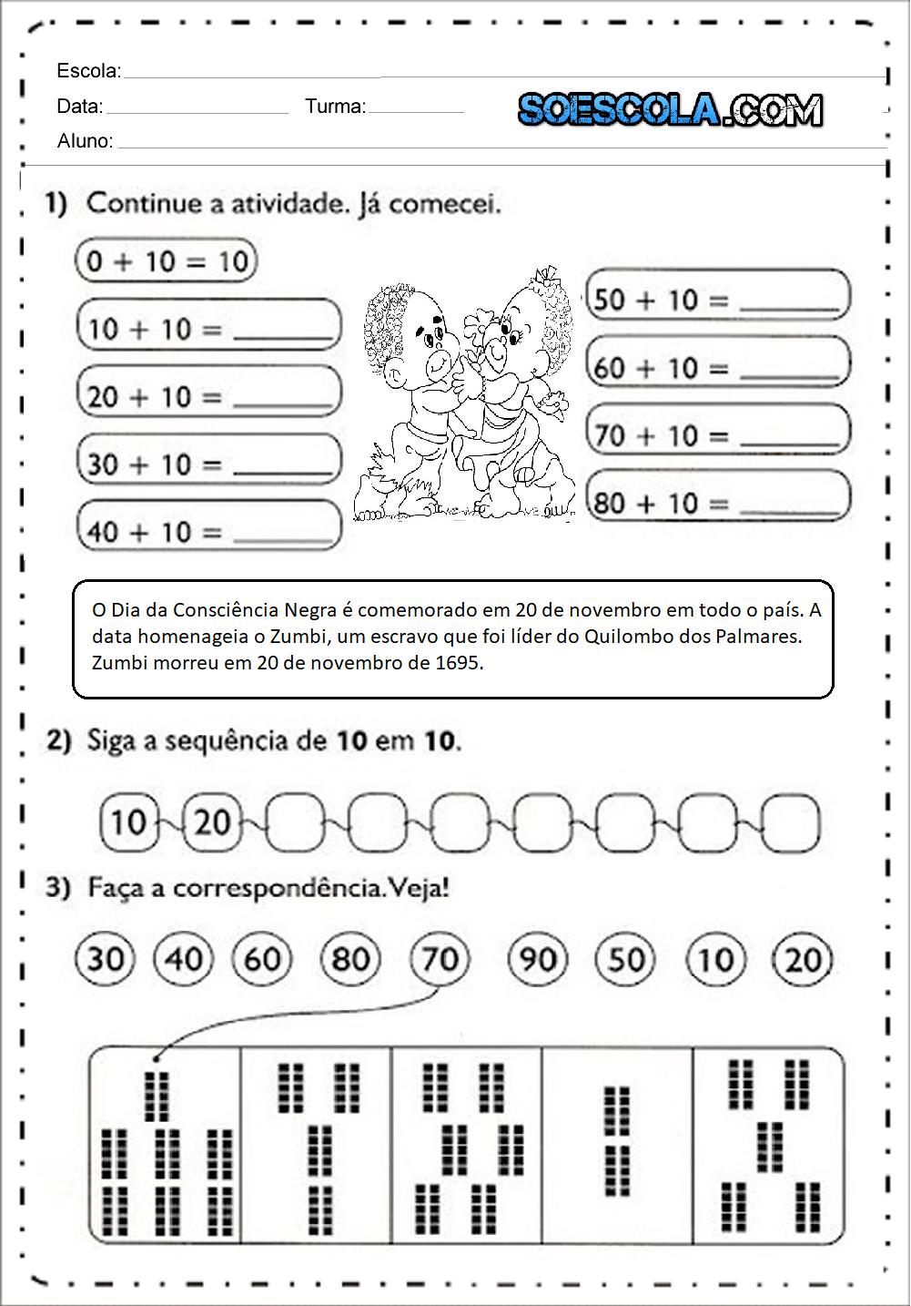 Atividade de Matemática Consciência Negra - Para Imprimir .