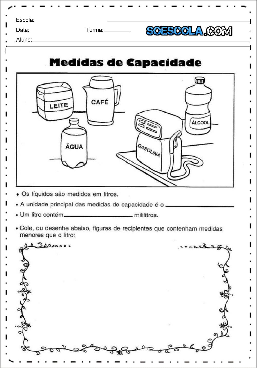 Atividade medida de capacidade - Para Imprimir - Series Iniciais.