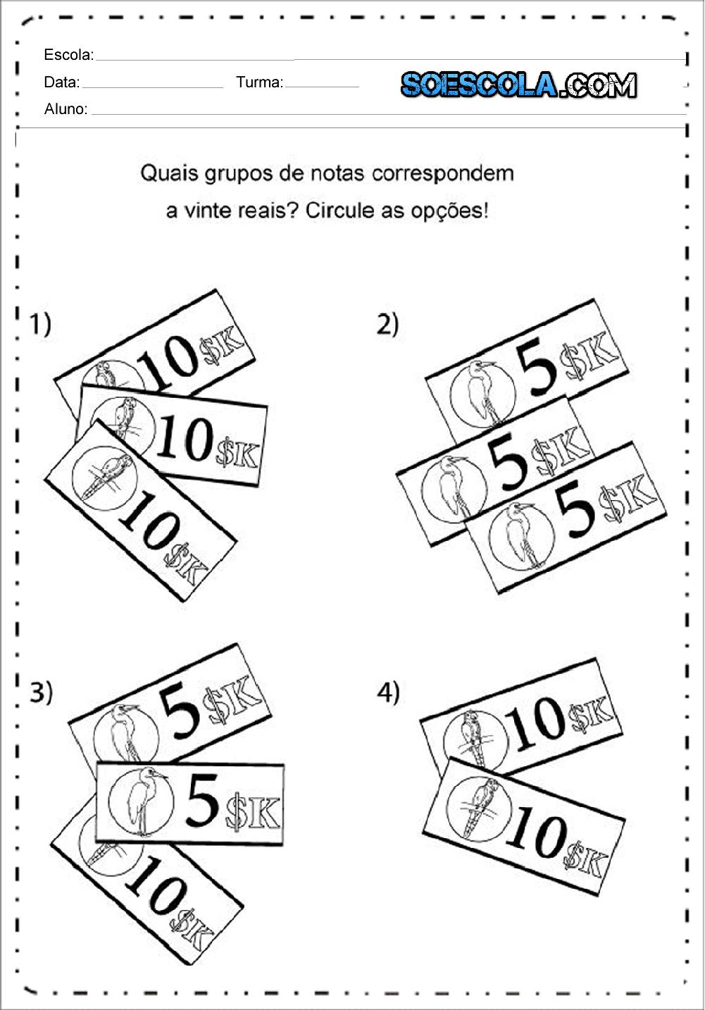 Populares Atividades com Sistema Monetário - Para Imprimir: Atividades de  NW62
