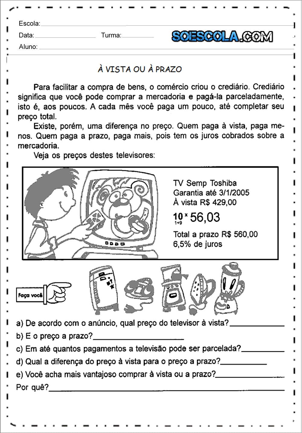 Atividades com Sistema Monetário - Para Imprimir: Atividades de Dinheiro.