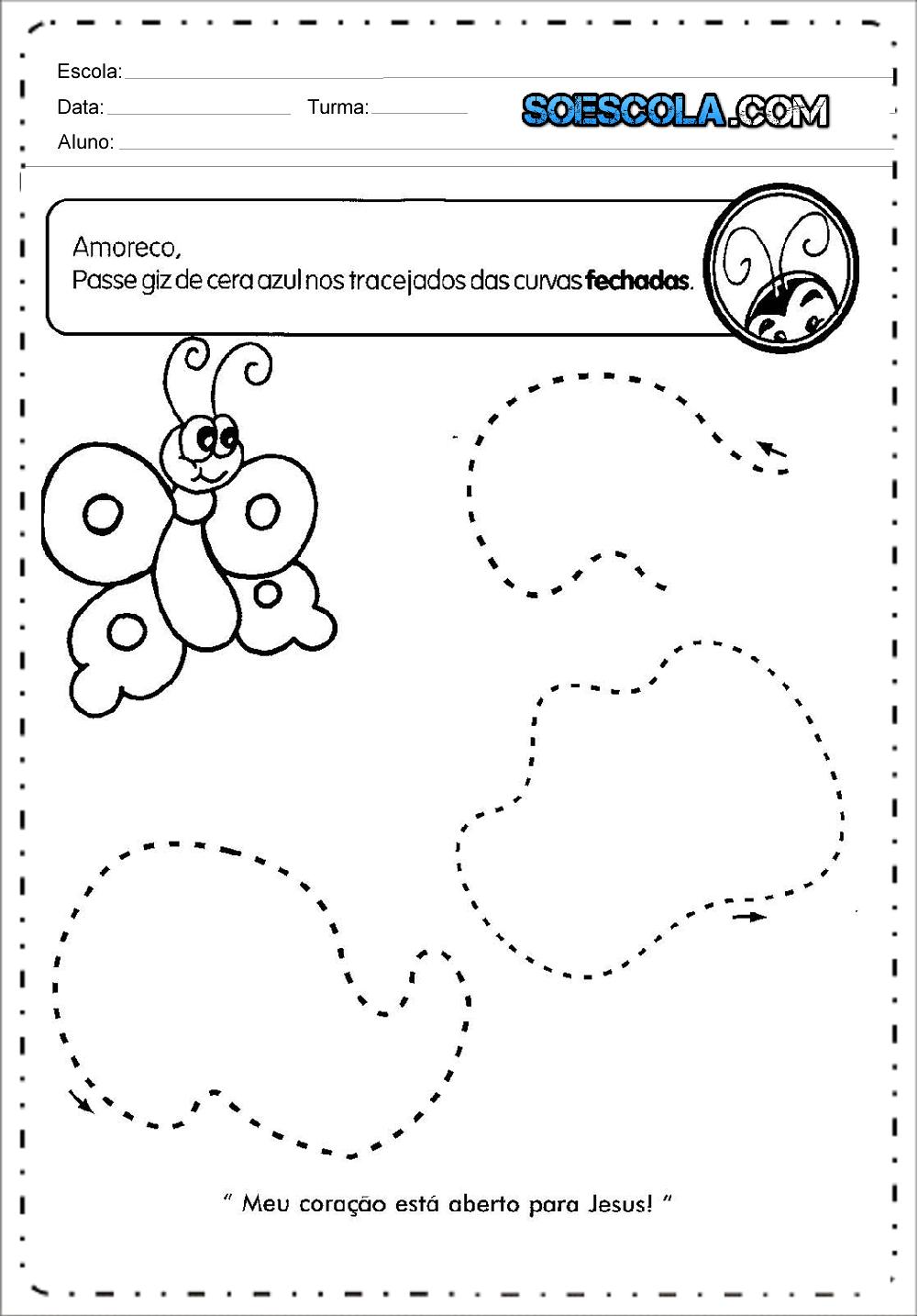 Atividades com Tracejado para o Maternal - Para imprimir