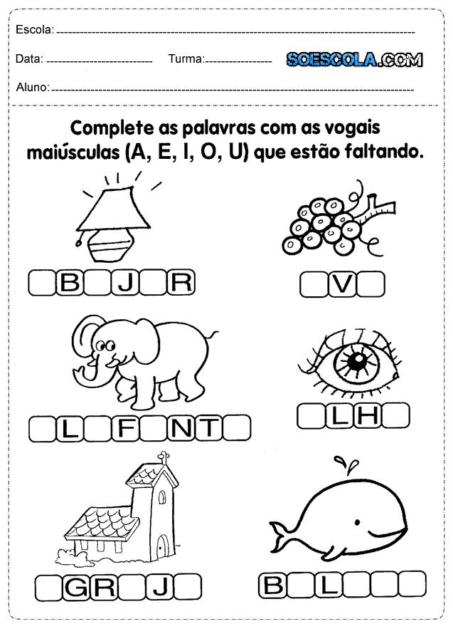 17 Atividades De Alfabetizacao Para Imprimir Series Iniciais