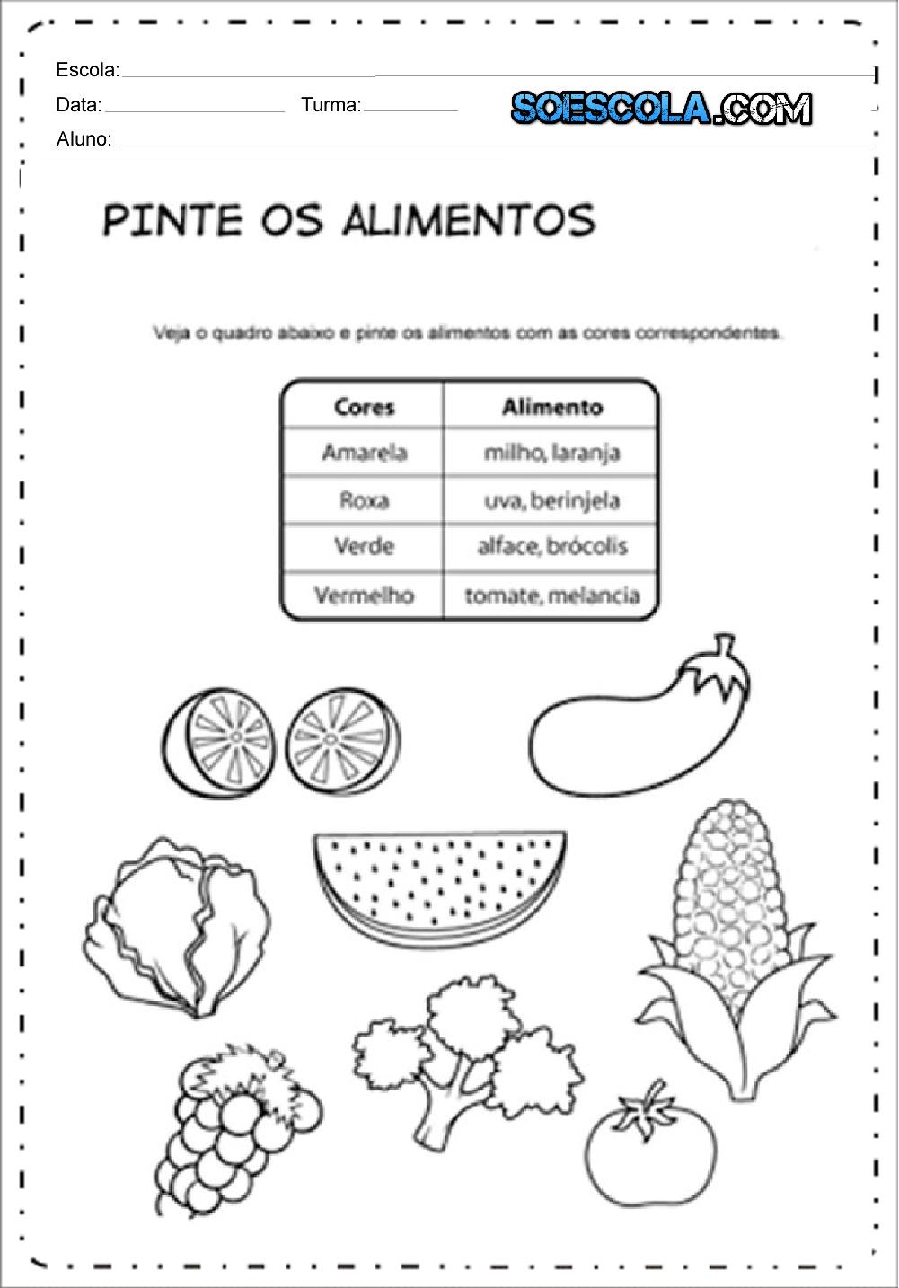 Atividades de Alimentação Saudável 2 ano do Ensino Fundamental.