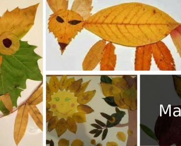 Atividades de Artes com folhas - Colagem e Pintura