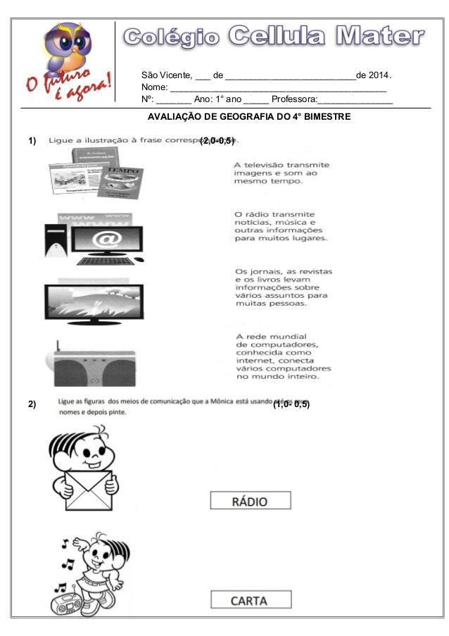 Atividades de Geografia 1 ano - Ensino Fundamental - Para Imprimir.