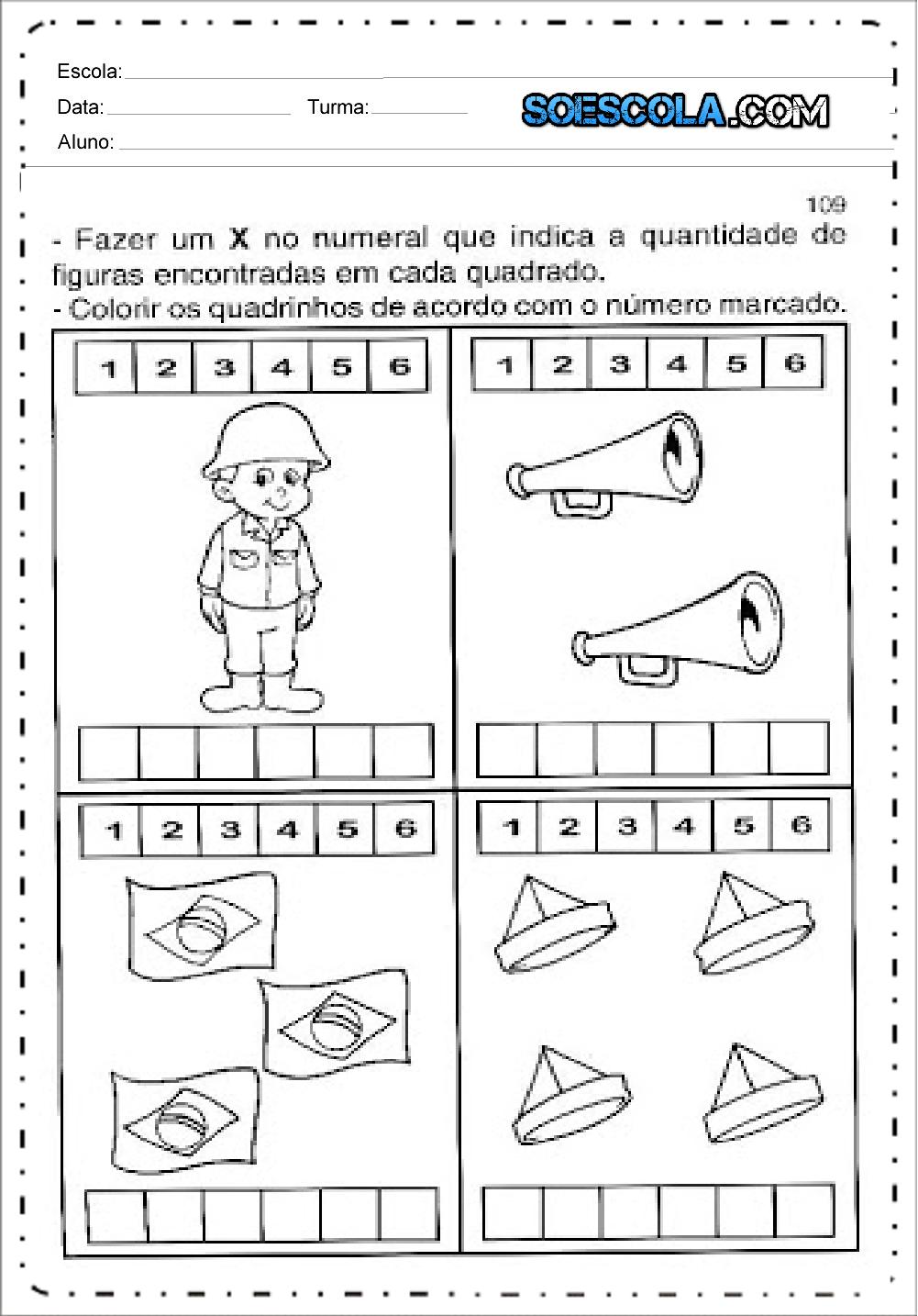 Atividades de Matemática Dia da Bandeira - Para Imprimir - Series Iniciais.