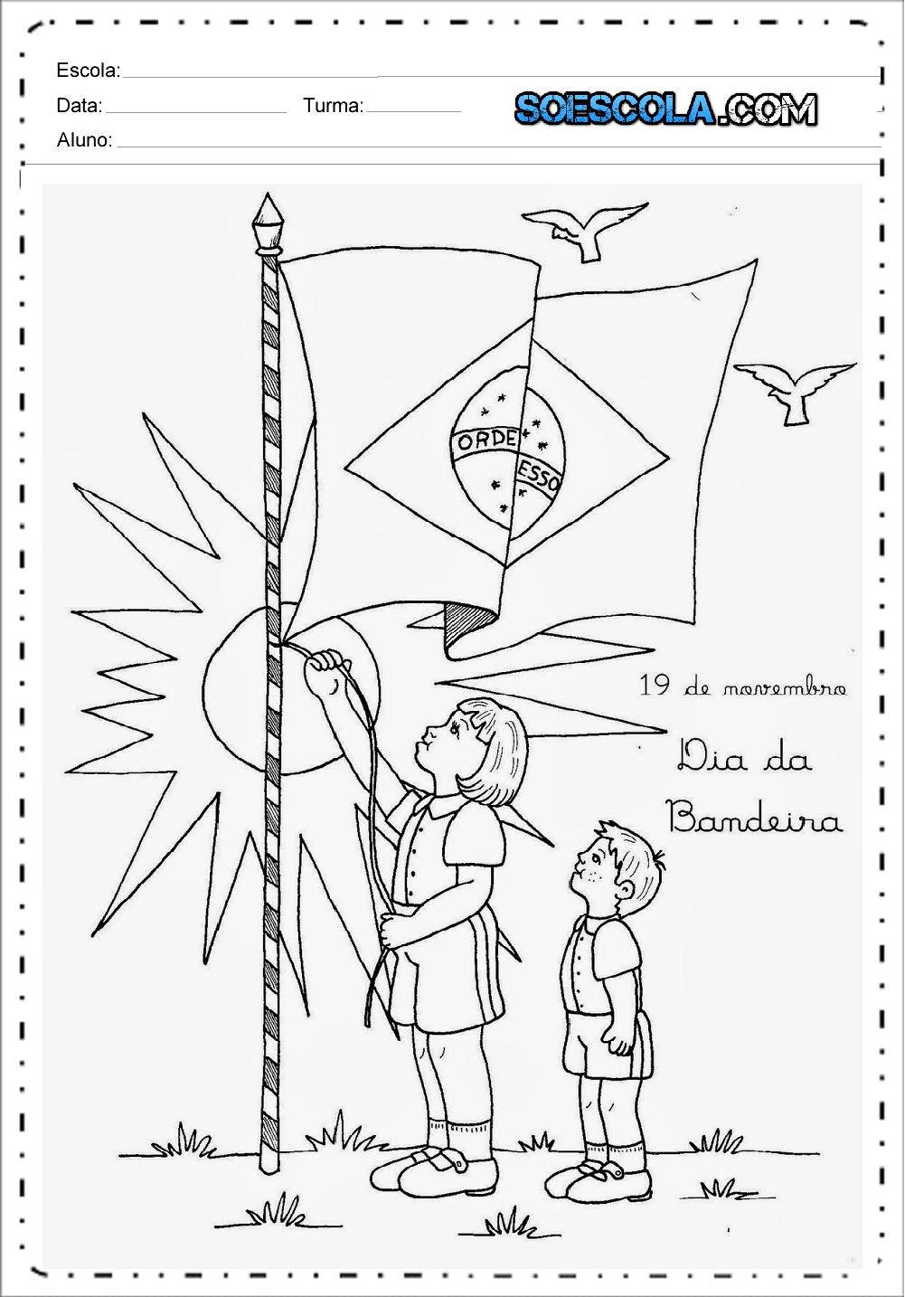 Atividades Dia da Bandeira 1 ano - Para Imprimir - Series Iniciais.