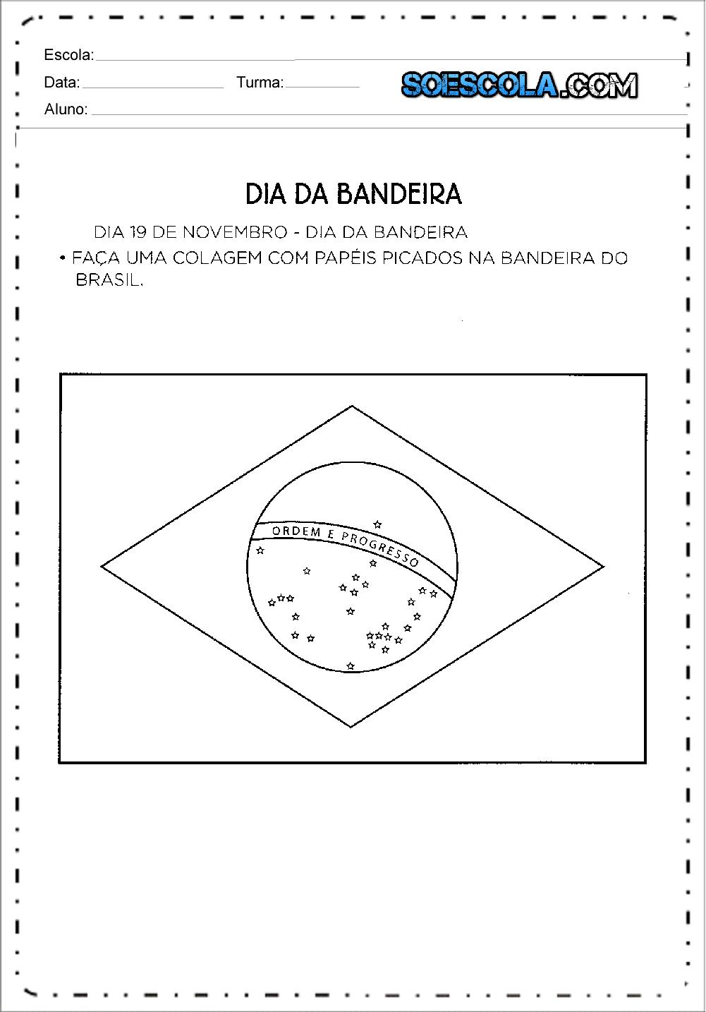 Atividades Dia da Bandeira para Educação Infantil para imprimir.