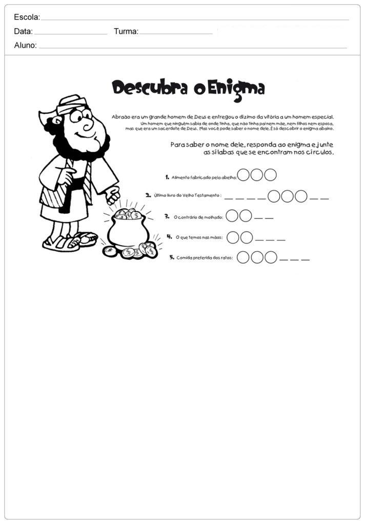 Atividades de Ensino Religioso 3 ano - Para Imprimir - Series Iniciais.