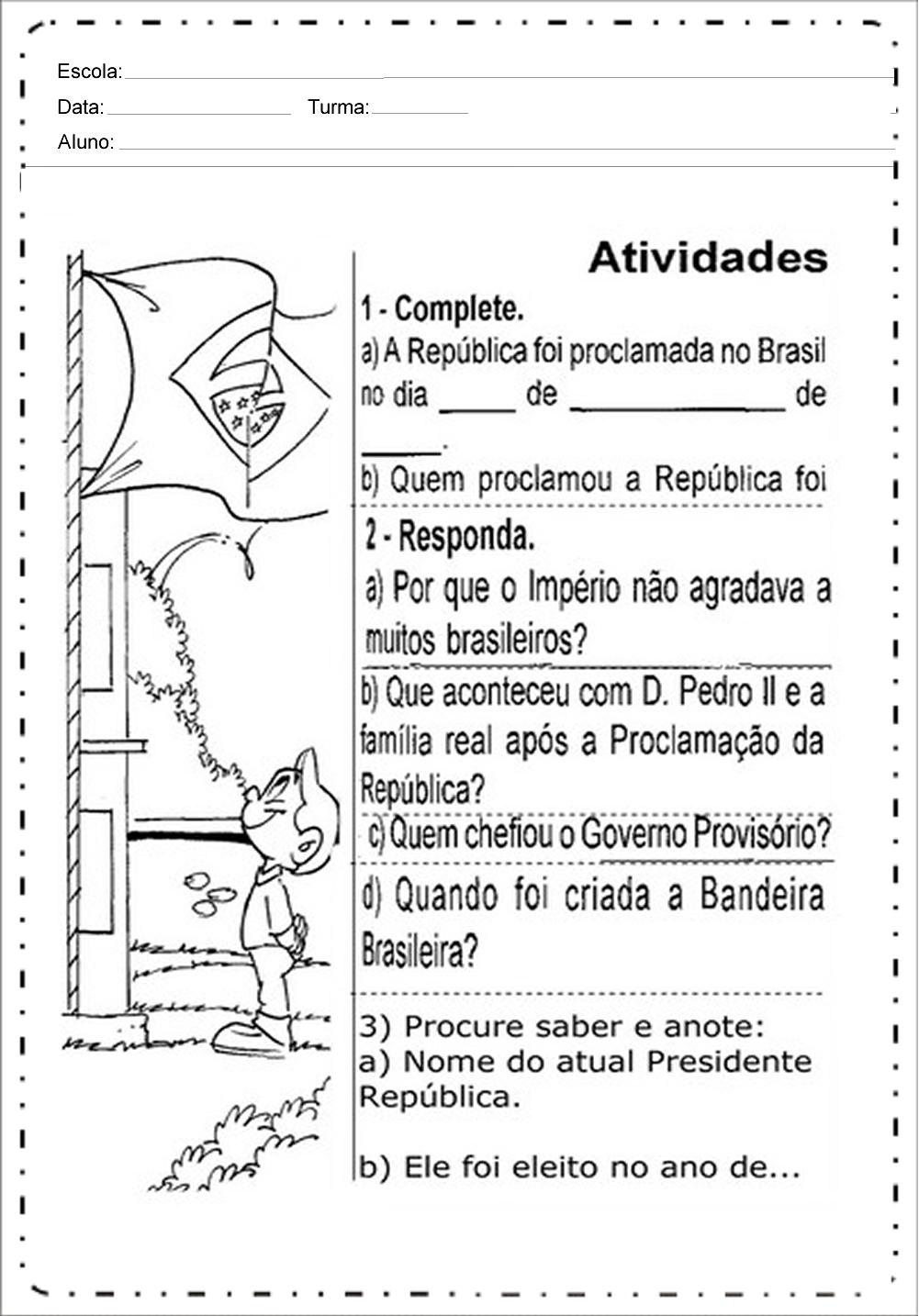 Atividades Proclamação da República 2 ano - Para Imprimir - Baixe.
