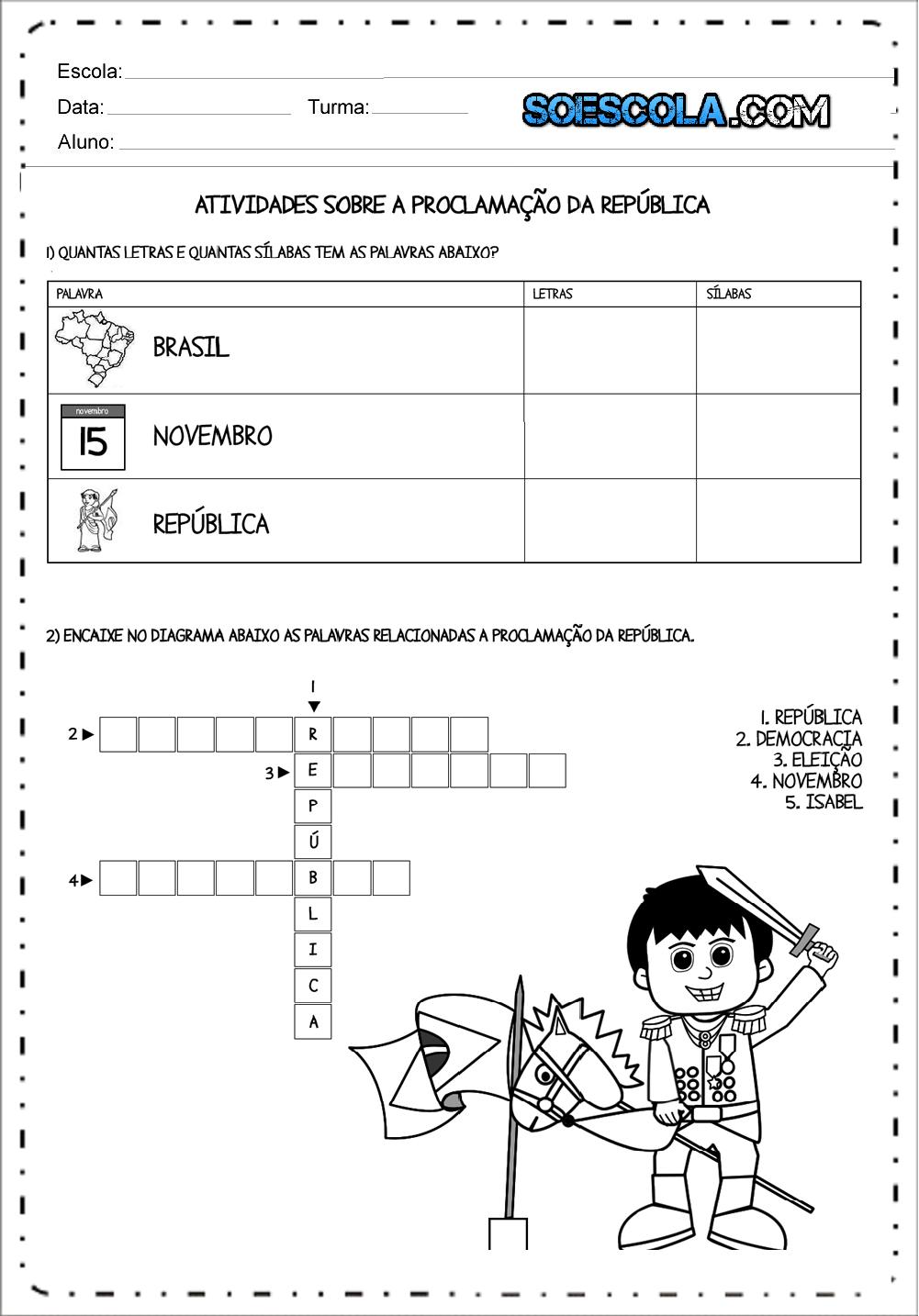 Atividades Proclamação da República 3 ano - Para Imprimir - Baixe.