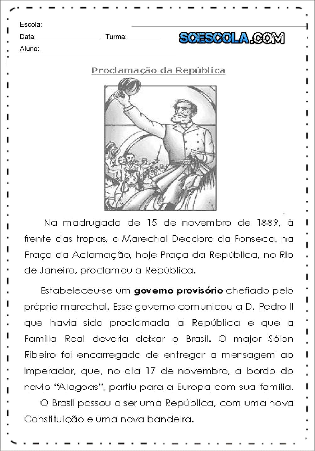 Atividades Proclamação da República 4 ano - Para Imprimir - Baixe.