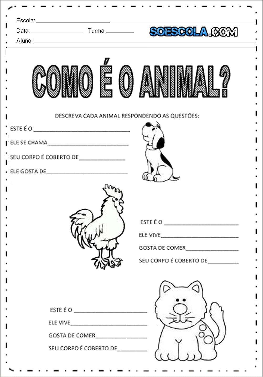 Atividades sobre Animais para imprimir - Series Iniciais - Baixe.