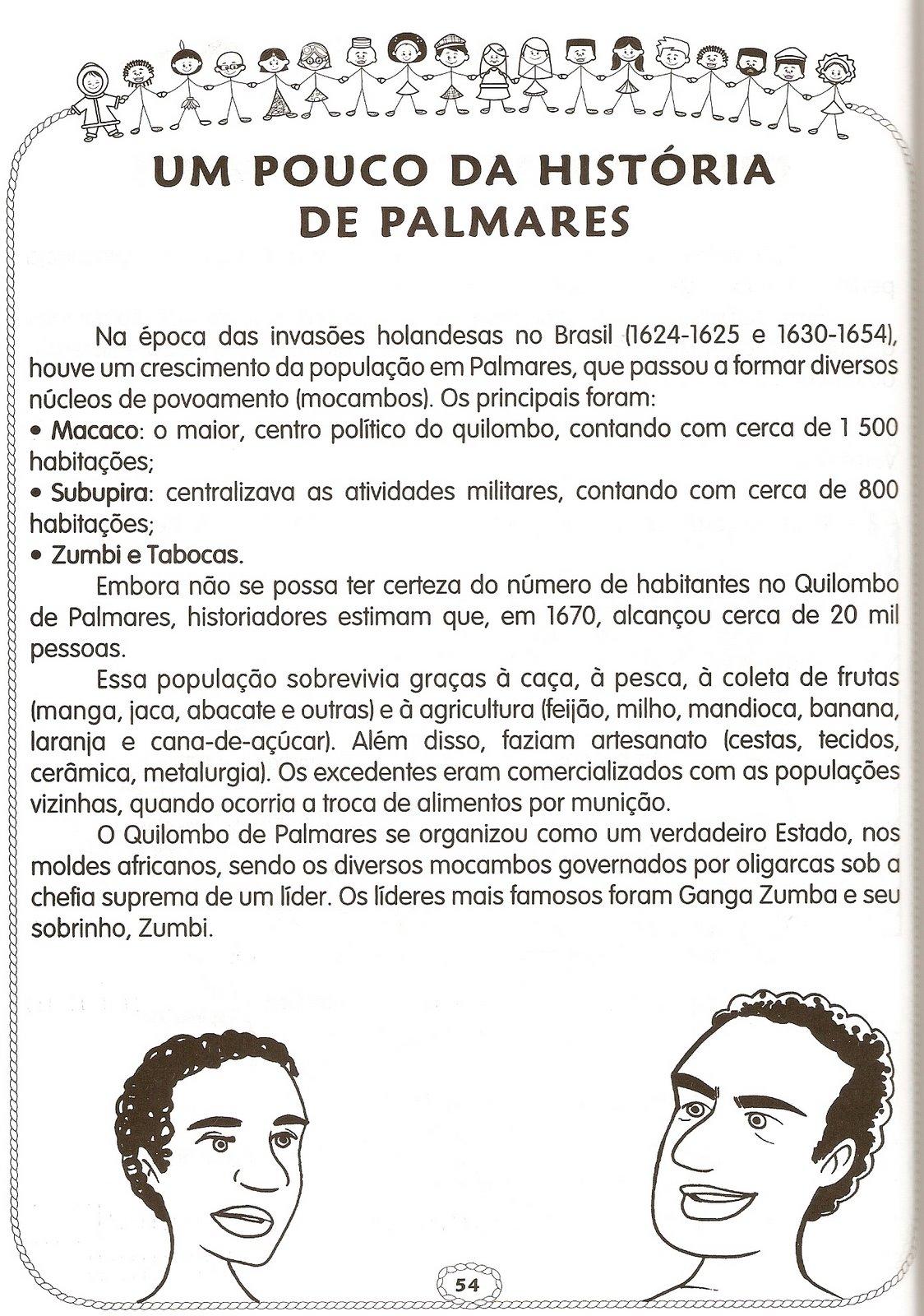 Atividades sobre Consciência Negra - Zumbi - Quilombo dos palmares