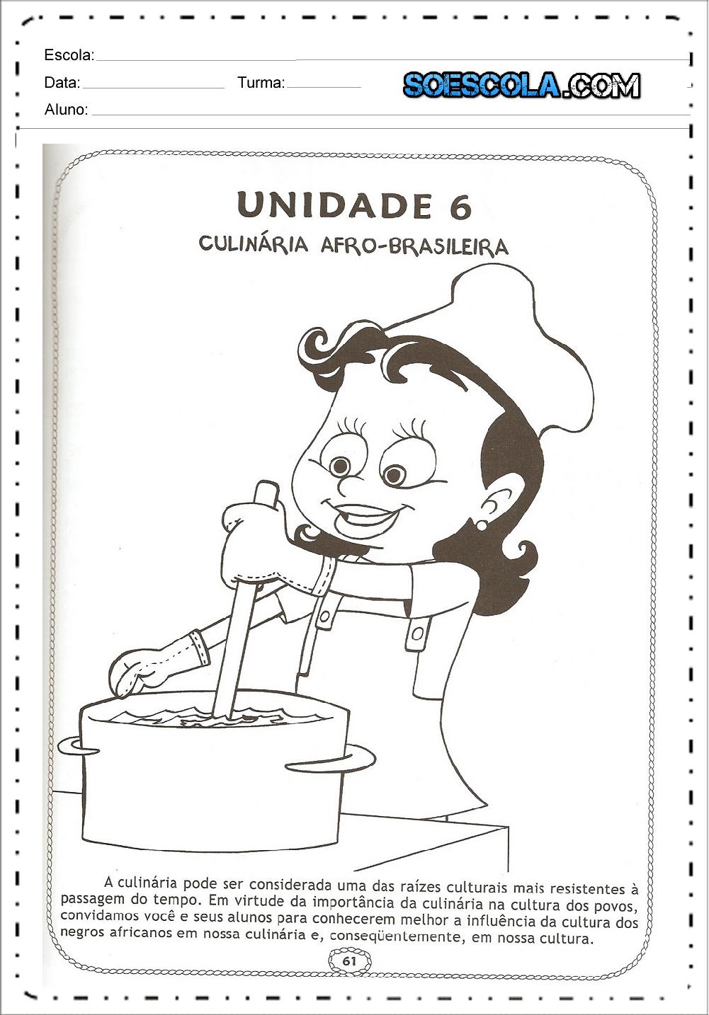 Atividades sobre culinária africana ou afro brasileira - Para imprimir