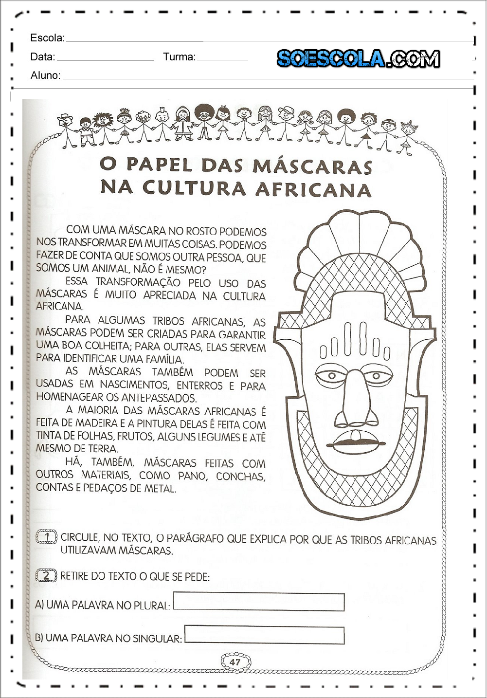 Atividades sobre máscaras africanas para imprimir