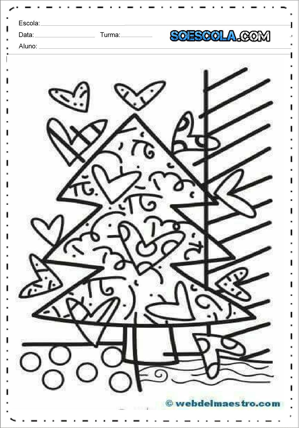 Desenhos Contorno Chapado De Natal Para Colorir Arvore So Escola