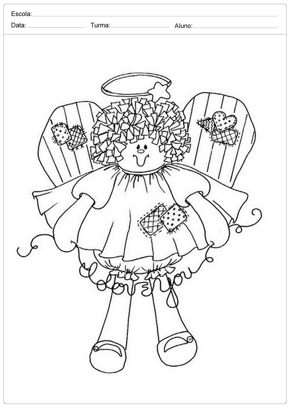 Desenhos de Anjos de Natal - Para Imprimir e Colorir.