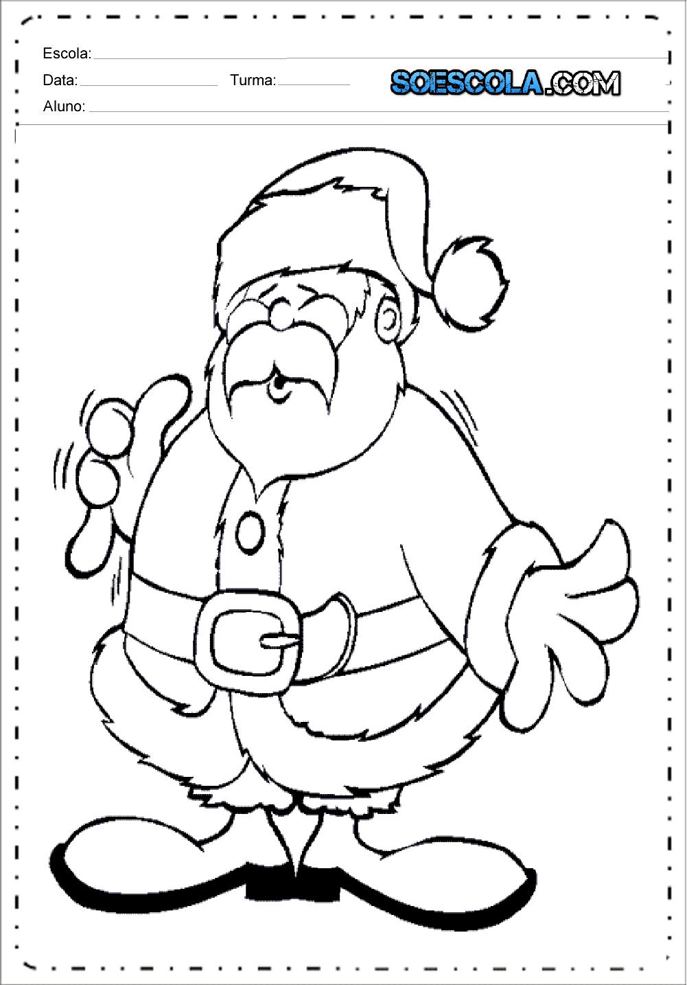 Desenhos de Papai Noel para Colorir e Imprimir - Desenhos de Natal.