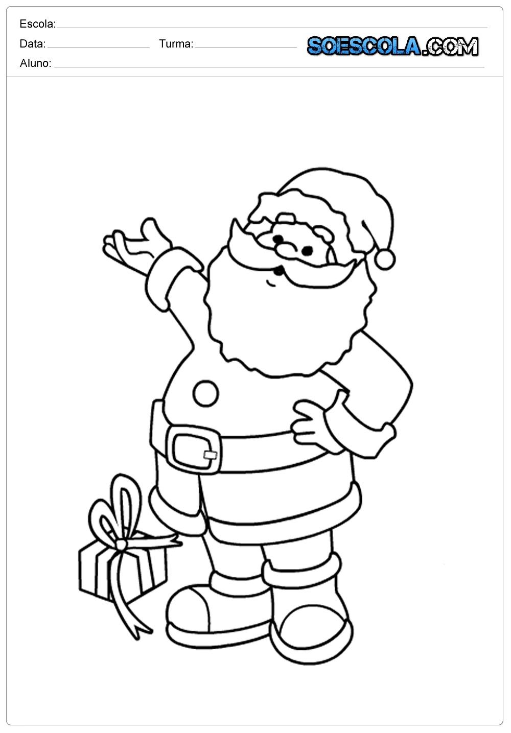 20 Desenhos de Natal para Colorir e Imprimir - Papai Noel em PDF.