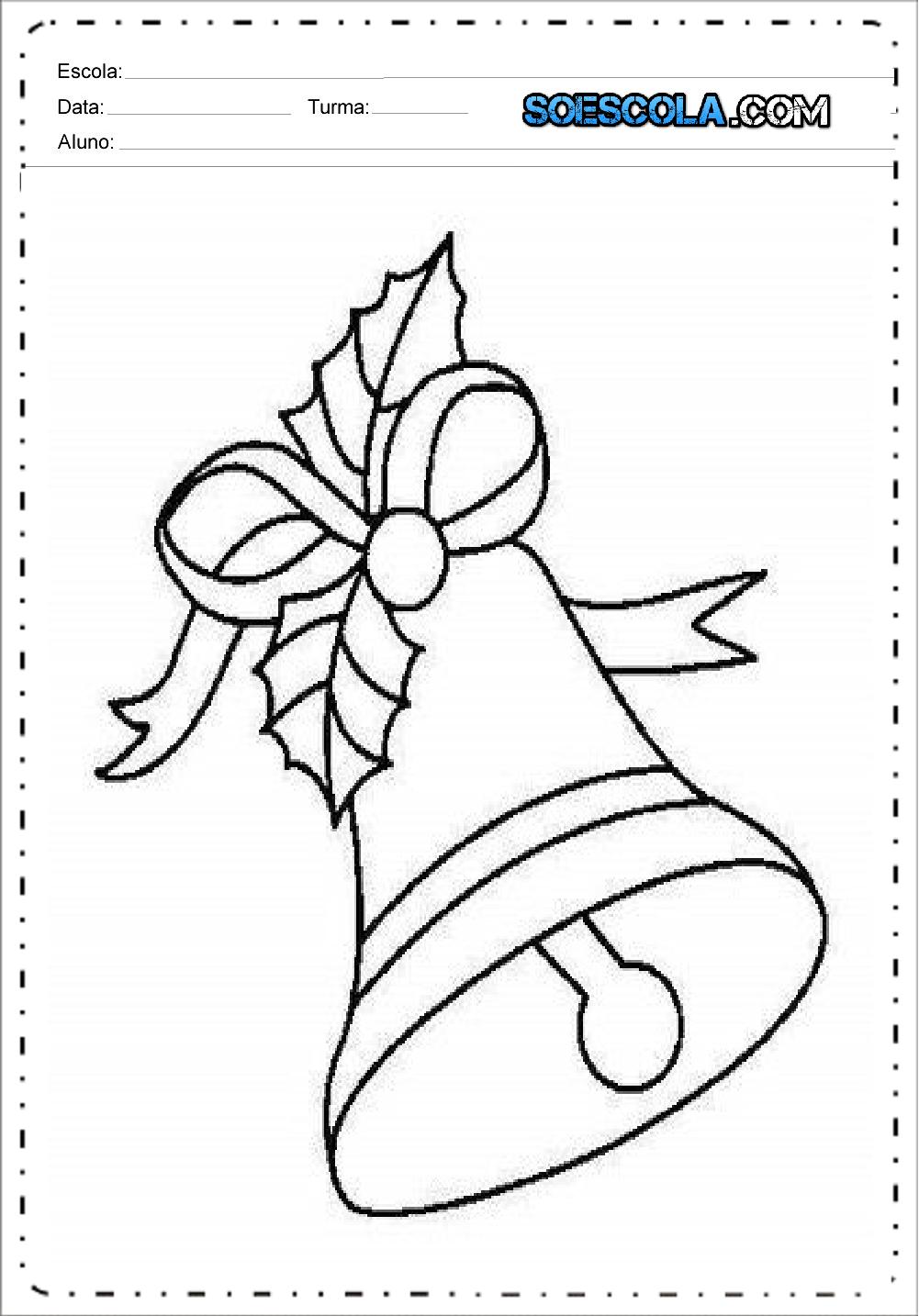 Desenhos de Sinos de Natal para imprimir e colorir