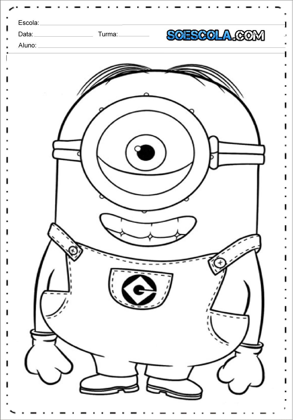 Desenhos Para Colorir E Imprimir Minions Só Escola