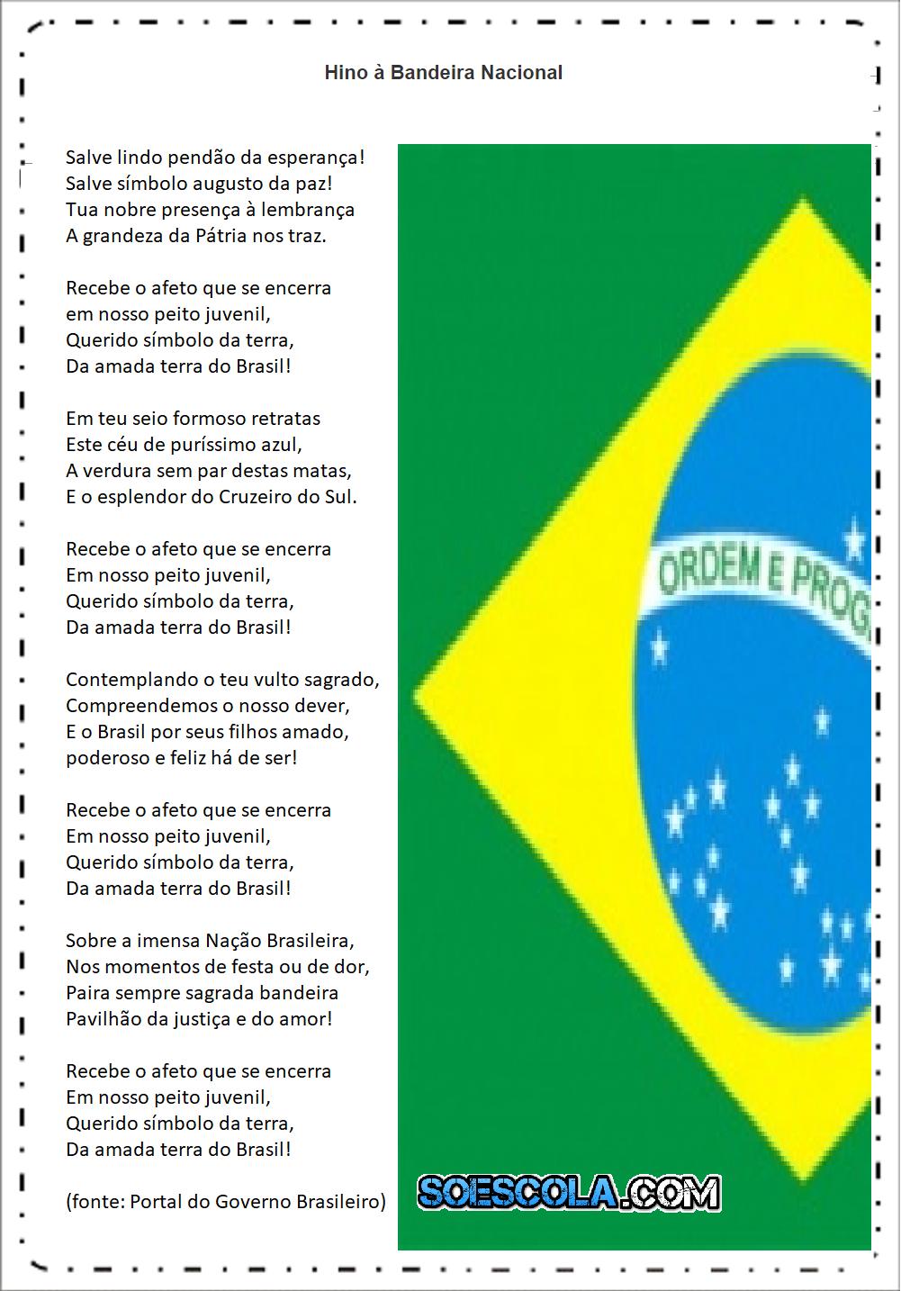 Atividades Dia da Bandeira 2 ano -Hino à Bandeira - Letra para imprimir.