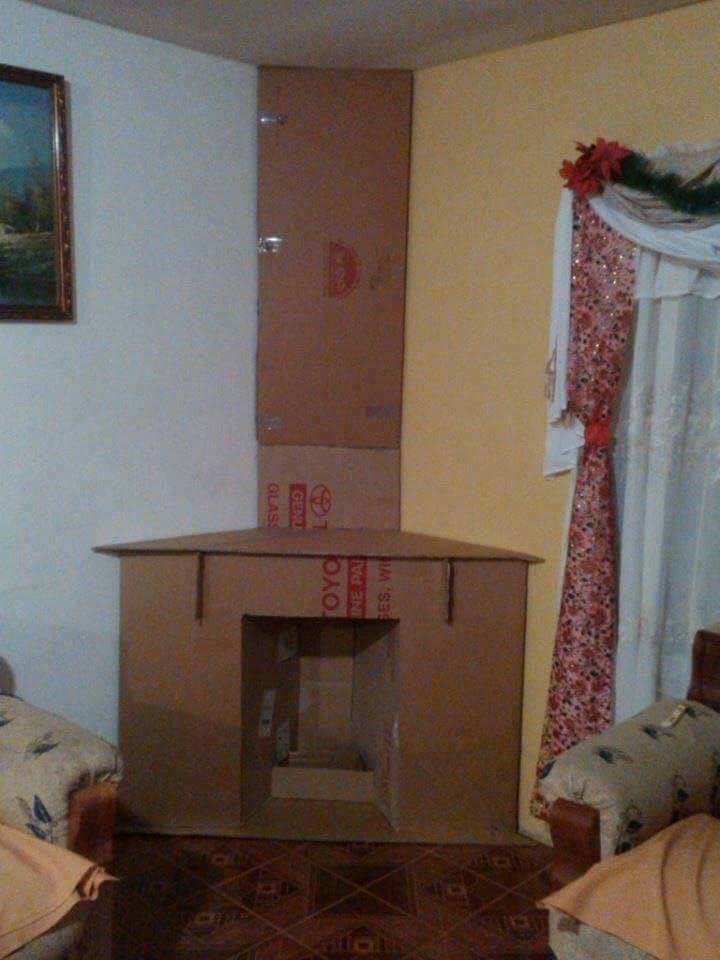 Ideias de Lareiras feitas com Caixas de Papelão