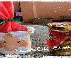 Lembrancinha de Natal com latas decoradas.
