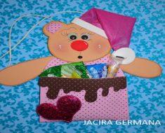 Lembrancinha de Urso para Natal com Moldes.