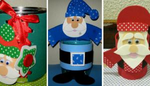 Lembrancinha Papai Noel na lata com moldes para imprimir - EVA
