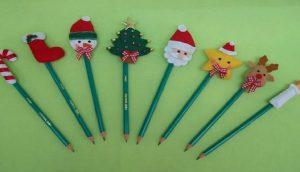 Lembrancinha ponteira de lápis de Natal com moldes para imprimir
