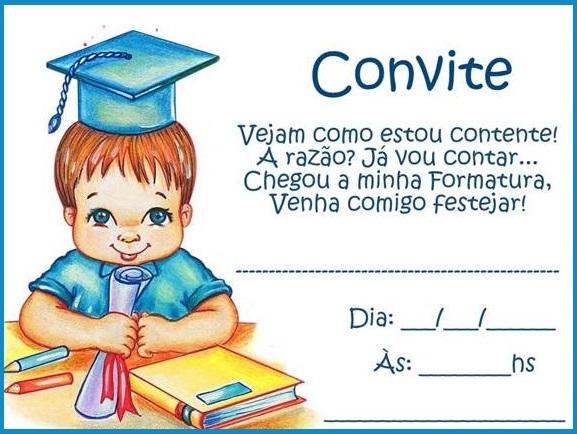 Modelos de convites para formatura infantil