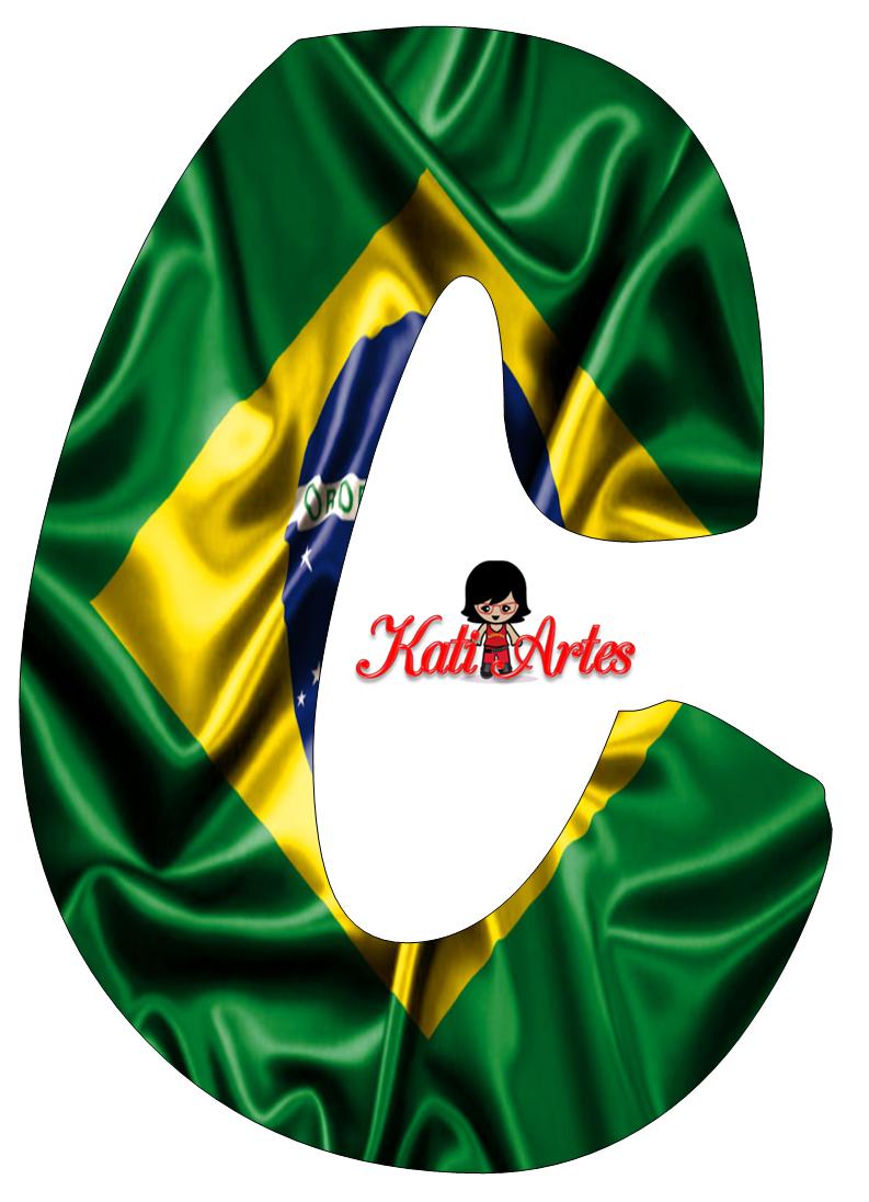 Moldes de Letras Bandeira do Brasil - Letras do Alfabeto para Imprimir,