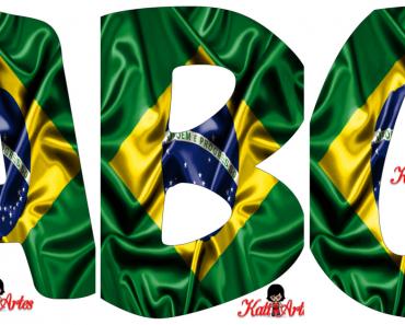 Moldes de Letras Bandeira do Brasil - Letras do Alfabeto para Imprimir.