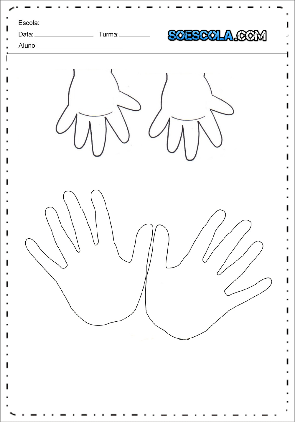 Cartão de Natal com desenho da mão para crianças