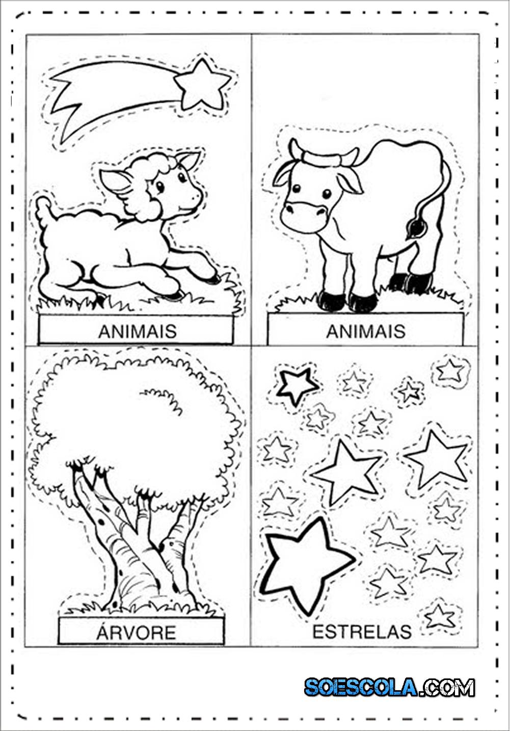 Moldes de Presépio de Natal para Imprimir e Montar - Modelos em PDF.