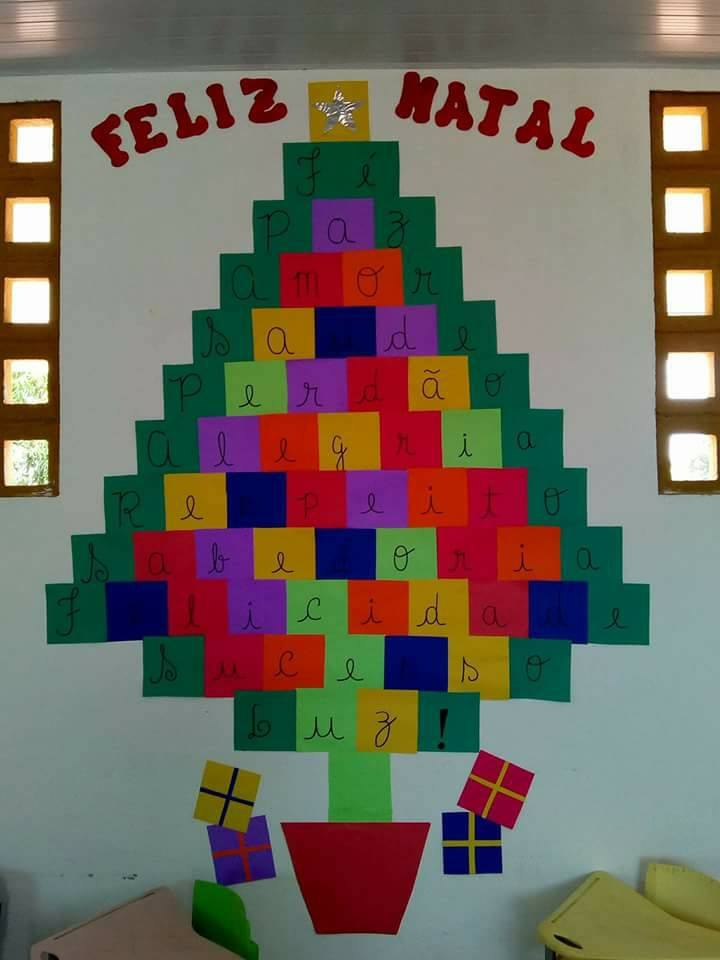 Mural de Arvore de Natal com Acróstico com Moldes - 25 de Dezembro.