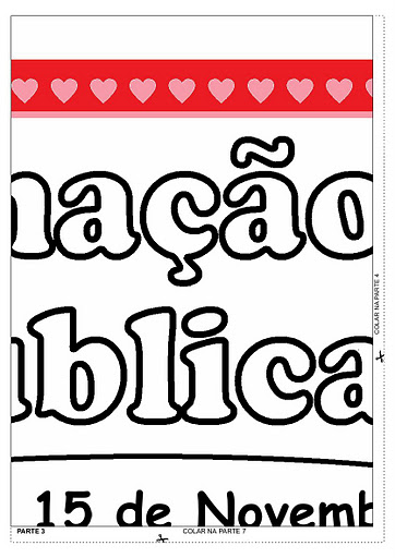 Mural Dia da Proclamação da Republica para montar e colorir em PDF.