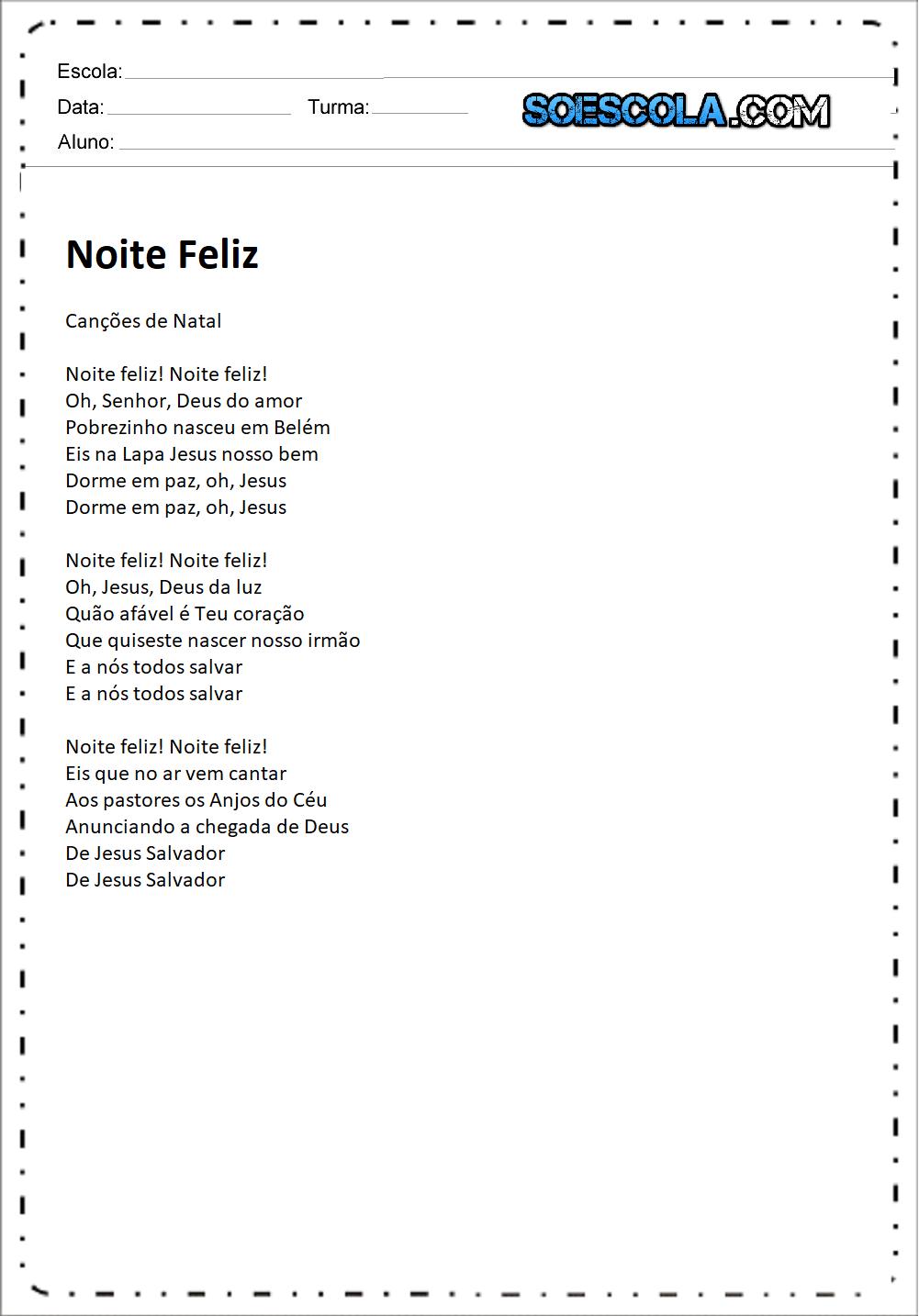 Músicas de Natal para imprimir - Noite Feliz.