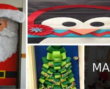 Portas Decoradas para Natal - Papai Noel, Arvore, Rena, Velas e Sinos.