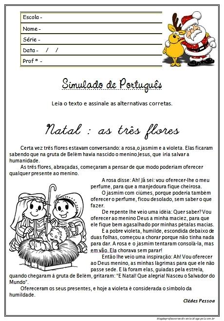 Simulado de Português 4 ano sobre Natal - Para imprimir