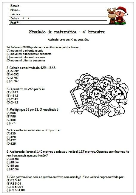 Simulado de Matemática 4 ano para 4 Bimestre - Para imprimir - Baixe