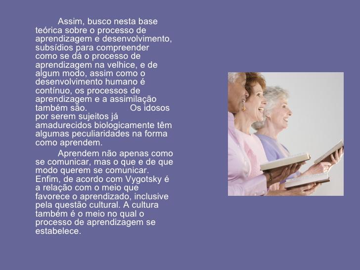 Teoria de Vygotsky e o processo de aprendizagem na velhice