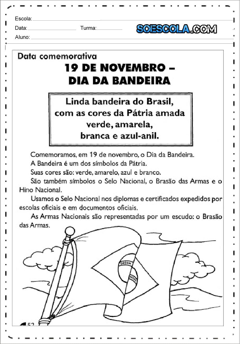 Texto Dia da Bandeira - Para Imprimir e Colorir - Baixe em PDF.