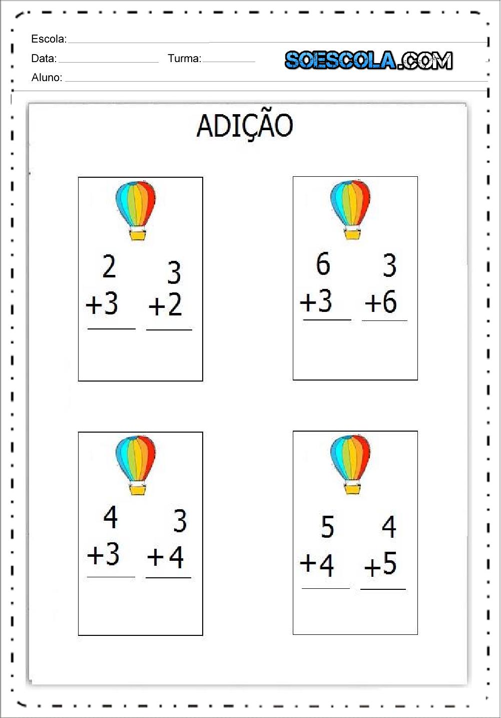 4 Atividades de Adição - Continhas de Adição para imprimir